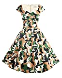 Hanpceirs Women's Cap Sleeve 1950s Retro Vintage Cocktail Swing Dresses with Pocket Camouflage 3X