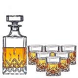 WEUN Juegos jarras Whisky, Juego Caja de Regalo Vidrio Whisky, Botella de 720 ml y decoración Elegante de Vidrio de Whisky de 6x260 ml, Regalos para Amantes del Whisky