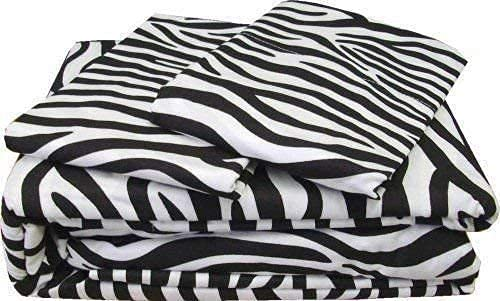 800 Thread Count Sheets 100% Long-Staple Egyptian Cotton – Sateen Weave Bed Sheets, 4 Piece Zebra Print Twin Size Bed Sheet Set, Fits Mattresses Upto 18' Deep Pocket