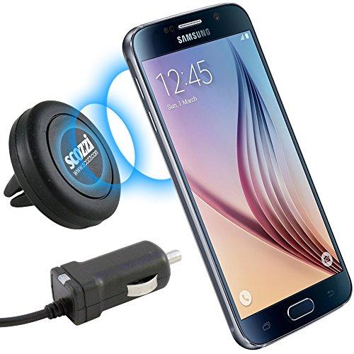 scozzi KFZ Halter für Samsung Galaxy S10 / S9 / S9 Plus / S8 / S8 Plus / A3 2017 / A5 2017 / Set Magnet Halterung Magnethalterung für die Lüftung im Auto + passendes KFZ Ladekabel