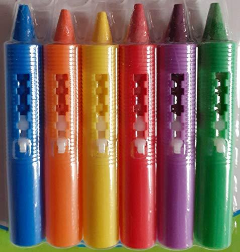123 BABY Play-tec - Lápices de baño para dibujar, desarrollar creatividad, imaginación, garabatos y hacer que el tiempo del baño sea divertido, fácil de lavar y limpiar con un paño, paquete de 6