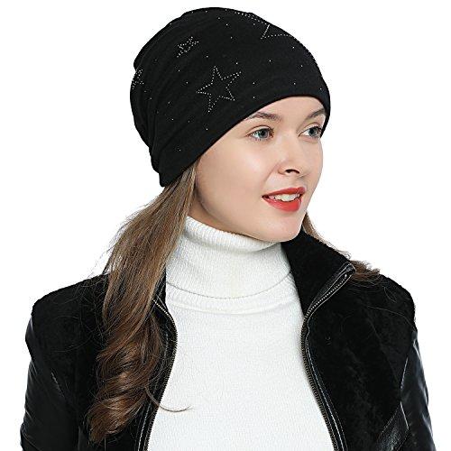 DonDon Mujer Gorro de Invierno con Estrella Plata estrás Estrella e Forro Interior Suave - Negro