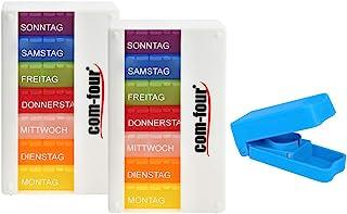 COM-FOUR® 2x Drug Dose Dispenser 7 dagen - BETER LEESBAAR - Medicijndoosje - Pillendoosje - Tabletdoos - Weekdosis + table...