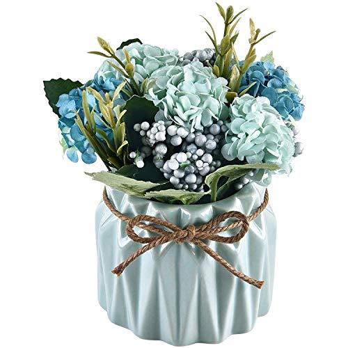 CXUKUN Künstliche Blumen Künstliche Hortensien Bouquet Künstliche Pflanzen Bonsai Künstliche Blumen in Keramikvase für Hochzeit Zuhause Party Büro Tischdekoration