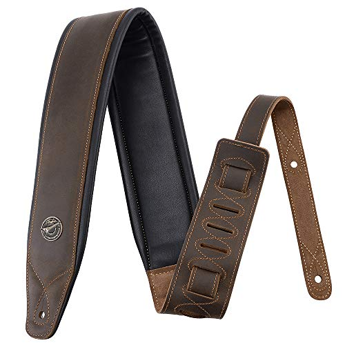 Guitar Strap Leather 3 Inch Wide Full Grain Padded Soft Leather Strap for Acoustic, Electric and Bass Guitars (Whiskey Brown)