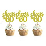 36 PCS Cheers to 60 Cupcake Toppers Gold Glitter 60th Birthday Cupcake Picks Anniversary Party Decors