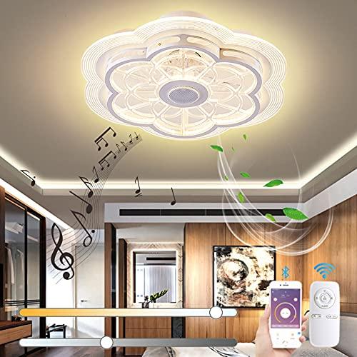 VOMI Smart Lámpara de Techo con Mando a Distancia Silencioso Ventilador de Techo con Luz LED Regulable Música Lámpara de Ventilador con Bluetooth Altavoz Moderno Candelabro para Dormitorio