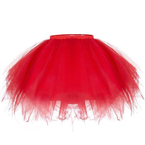 Joeyer Damen Tüllrock Ballettrock Tutu Unterkleid Rock Vintage Partykleid Abendkleid Zubehör (Red)