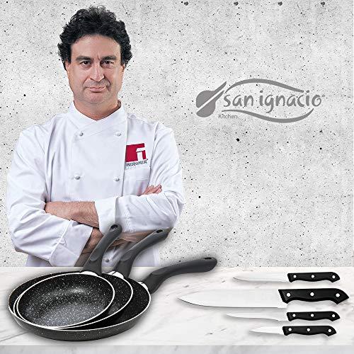 San Ignacio Black&Marble - Set 3 sartenes (16-20-24 cm) y 4 cuchillos, aluminio prensado con revestimiento de mármol, apto para todo tipo de cocinas incluido inducción