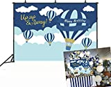 Botong 7x5ft Hot Air Balloon Up Up & Away Backdrop Baby Shower Boby Kids Adult Family Birthday Photography Background Sky and Clouds Decoration Background Photo Decoration Studio Props Vinyl Cloth