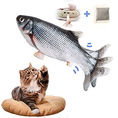LIUMY Catnip Fish Toys for Cats, Plush Electric Wagging Fish Simulation Toy Fish with USB charge, Indoor Funny Interactive Pillow Fish for Biting/Chewing/Teeth Cleaning/Kicking(Black)