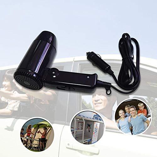 Faltbarer Auto Föhn 12V Haartrockner mit Klappgriff Praktischer Fön kompakte Design Überhitzungsschutz fürs Auto Camping Innenraum