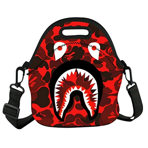 Buwict Bape Red Shark Camo Insulated Lunch Neoprene Lunch Tote Bags Reusable Travel School Boxes for Adults Kids