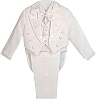 Dressy Daisy Boys' Formal Tuxedo Suits Baptism Christening Outfit Suit with Tail 5 Pcs Set