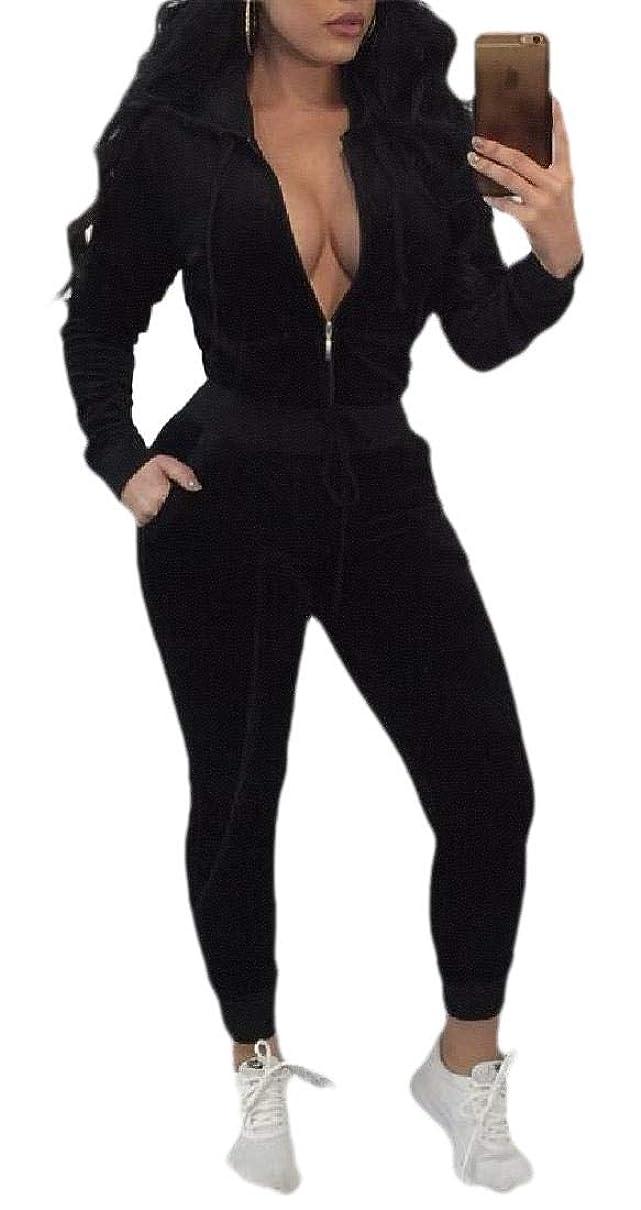 ファッション適切にバッジレディース 秋 ベルベット ジップアップ フード付きジャケット ストレート パンツ スウェットスーツ 2ピースセット