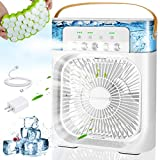 KAQINU Portable Air Conditioner, 3 in 1 Personal USB Evaporative Desk Air Cooler Humidifier Fan with 7 Colors LED Light, 1/2/3 H Timer, 3 Wind Speeds and 3 Spray Modes for Office, Home, Dorm, Travel