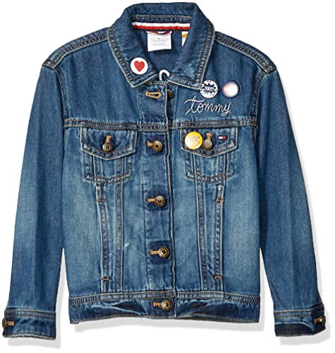 Tommy Hilfiger Mädchen Jean Jacket with Magnetic Buttons Jacke, Vegas Wash, Medium