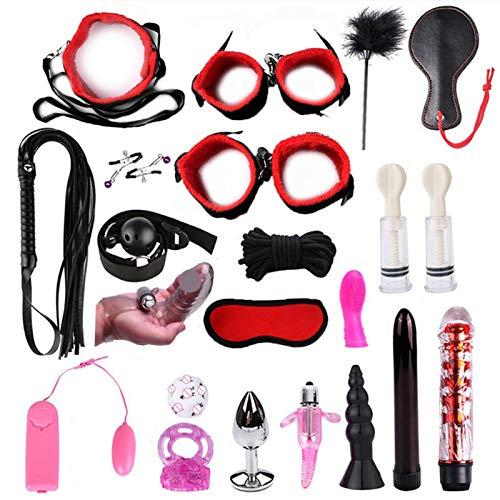 Pangyan990 24-PCS Nylon Bundled Toolkit Sex-Y Spielzeug Nylon Bundle Set, Erwachsene, Paare, Anfänger Rollenspiel Spielzeug, Leder Handschellen Spielzeug Set Verstellbares S & M Game Tools Kit