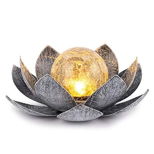 Huaxu Garden Solar Light Outdoor, Amber Crackle Globe Glass...