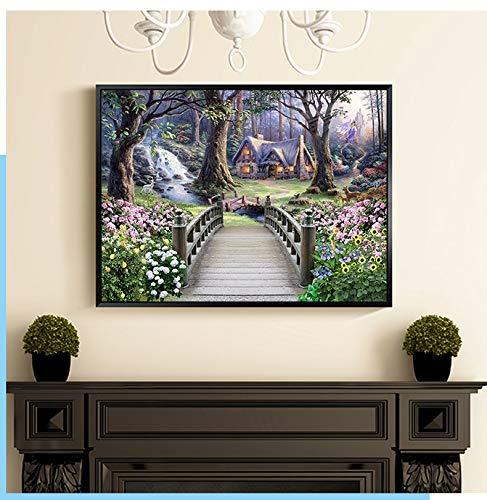 supmsds 5D Diamantmalerei Kristallwafer Landschaft Gartenhaus Zubehör für die Heimdekoration DIY 40x50cm Kein Rahmen