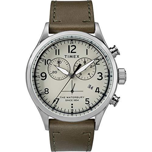 Timex Waterbury - Correa de piel de cuarzo analógica para hombre (42 mm, acero inoxidable), Oliva/Crema