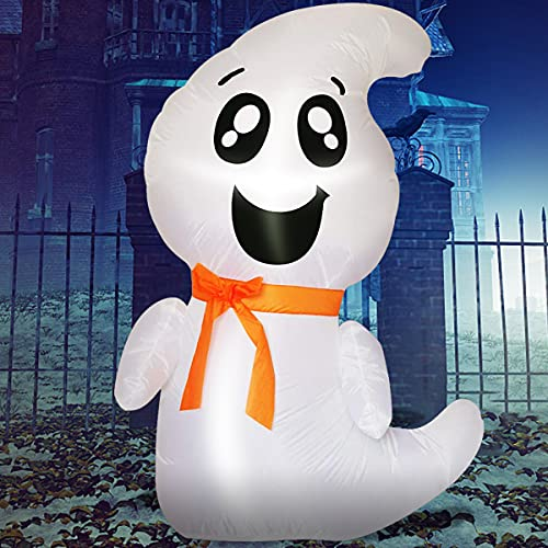 Halloween Decorations Inflatables White Ghost – 4FT Hallowee Inflatables Cute Blow Up Yard Decoration Clearance with Led Lights Built-in for Holiday,Party,Outdoor,Yard,Garden