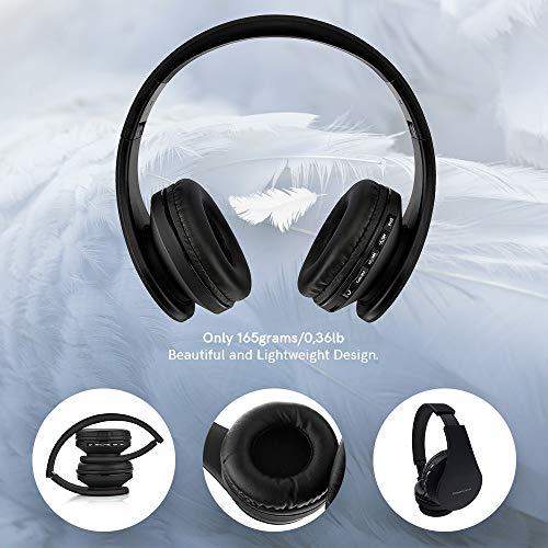 PowerLocus P1 – Auriculares Bluetooth inalambricos de Diadema Cascos Plegables, Casco Bluetooth con Sonido Estéreo con Conexión a Bluetooth Inalámbrico y Audio Cable para Movil, PC, Tablet - Negro
