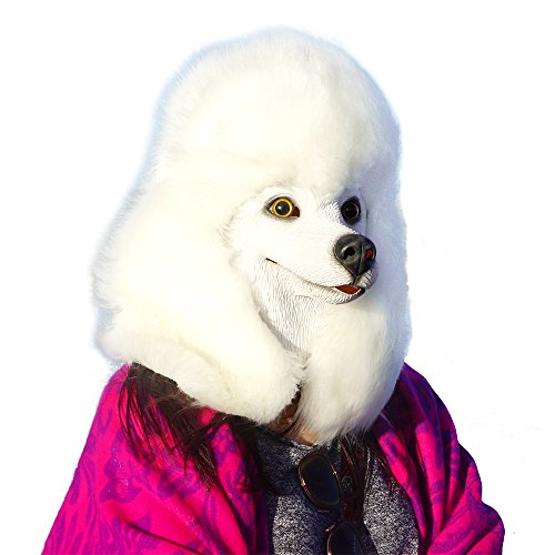 CreepyParty Deluxe Halloween Costume Party Latex Super Bowl Underdog Dog Head Mask Poodle White