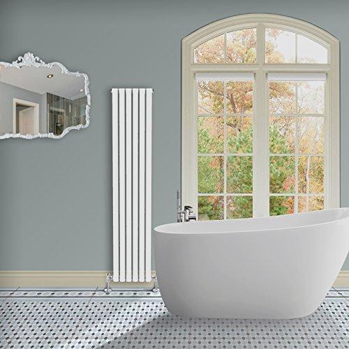 Simple Home | 1800 x 354 mm Radiador diseño Borvo brillante blanco horizontal panel doble oval