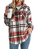 TNGXXWL Camisas de manga larga con botones de manga larga para otoño, Rojo ladrillo, XL