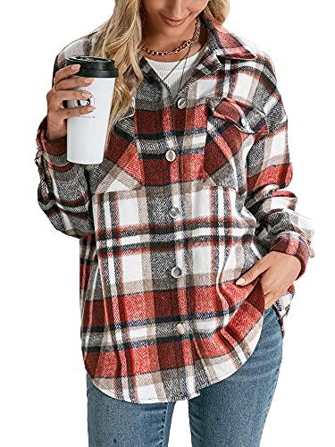 TNGXXWL Camisas de manga larga con botones de manga larga para otoño, Rojo ladrillo, M