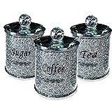 Tè e caffè Zucchero Fusti Set con coperchio Schiacciato di cristallo pieno Multi-Purpose Storage Cucina di vetro 3PCS vaso bottiglia di immagazzinaggio