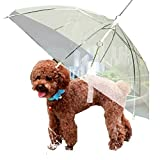Moore Transparent Umbrella with Built-in Leash Pet Dog Puppy Dry Comfortable in Rain