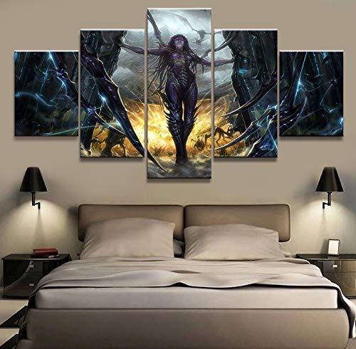 XLST HD Drucke Bilder 5 Stück Kerrigan Starcraft Spiel Malerei Poster Home Wandkunst Dekor,B,10X15X210X20X210X25X1