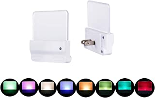 Color Selected Multicolor Night Light 2 Pack, Plug in Rotating Color Nightlight, Dusk to Dawn Sensor, Brightness Adjustable Warm White Night Light