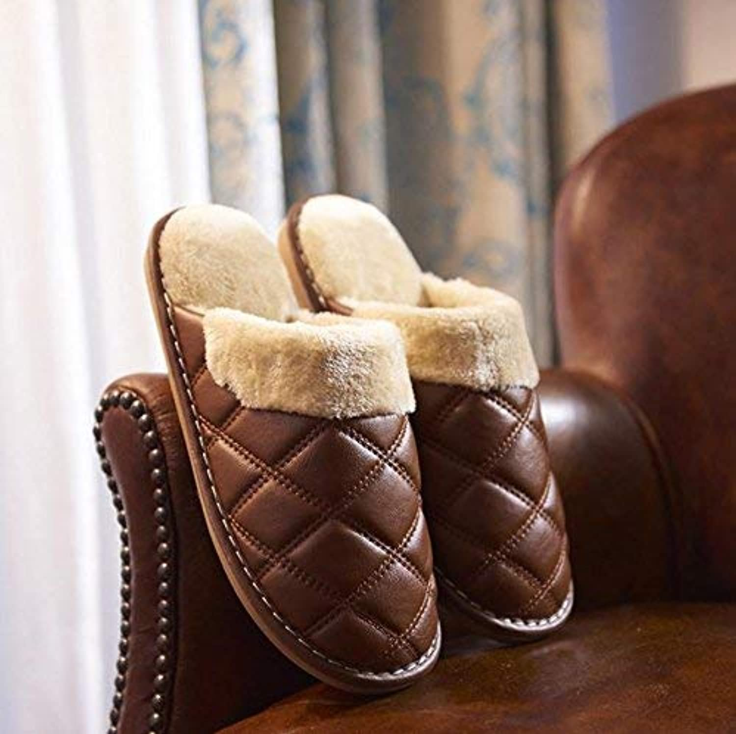JaHGDU Household Indoor Home shoes Keep Warm Faux Leather Slippers Men Slippers Large Brown for Men Soild color