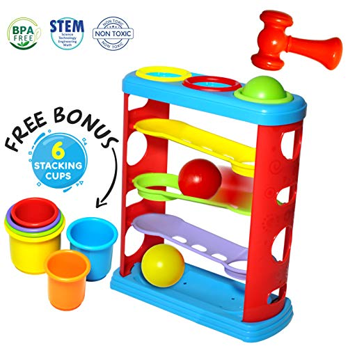 Pound a Ball Toy for Toddlers with 6 Bonus Stacking Cups Now $16.99 (Was $29.99)