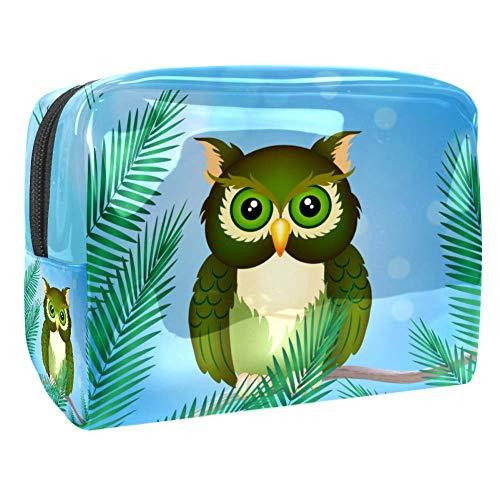 personnalisée Trousse de Toilette Dessin animé Hibou Vert Cadeau Anniversaire, Cadeau Femme, Trousse Bijoux, Cadeau personnalisé 18.5x7.5x13cm