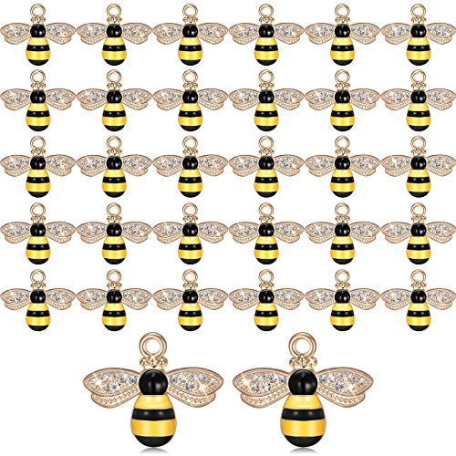 32 Pieces Bee Charm Pendants with Rhinestone, Honeybee Charms Pendants for Jewelry Making, DIY Craft, Earring, Necklace and Bracelet