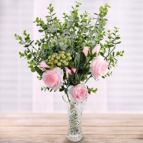 Rosas Artificiales y Eucalipto con Florero en Vaso - Rosado Flor Artificial Seda Rosa con Hojas de Eucalipto y Ramas de Bayas para Ramilletes de Boda, Centros de Mesa, Decoración Fiesta en Casa