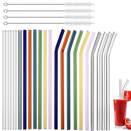 Fiyuer cannucce Vetro Colorate 20 PCS riutilizzabili Paglia Vetro per Varie Bevande e Tazze con 4 Spazzola di Pulizia Salutare Eco-Friendly (Dritto E Piegare)