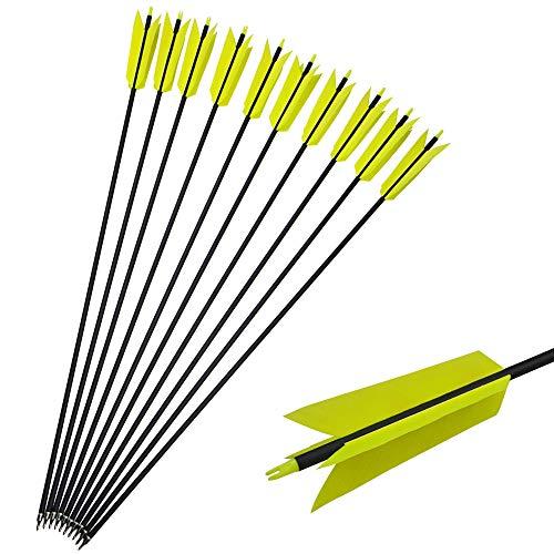SHARROW 10pcs Carbonpfeile Grippe-Pfeile Flu Flu Pfeile 30 Zoll Pfeile für Bogen Jagdpfeile Spine 400 for für die Jagd auf Kleinwild (Fluoreszierendes Gelb)