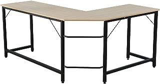 Romatlink L-Shaped Home Office Desk 66 inch Sturdy Computer PC Laptop Table Corner Desk Workstation Larger Gaming Desk Easy to Assemble and Desk Adjustable Leg Pads(Wood)