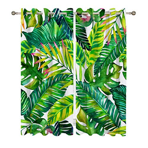 Goodbath Banana Leaves Window Curtains, Tropical Palm Leaf Blackout Curtain Window Treatment Drapes for Living Room Bedroom Hotel,2 Panels, 52W x 63H,Green White