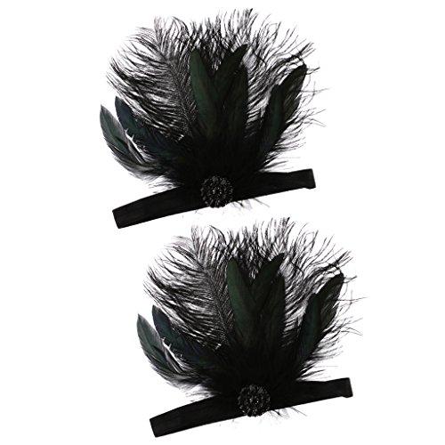 dailymall Hauteur Plume Noire Robe Garçonne Costume Hairband Headpiece Nuptiale 1920 's
