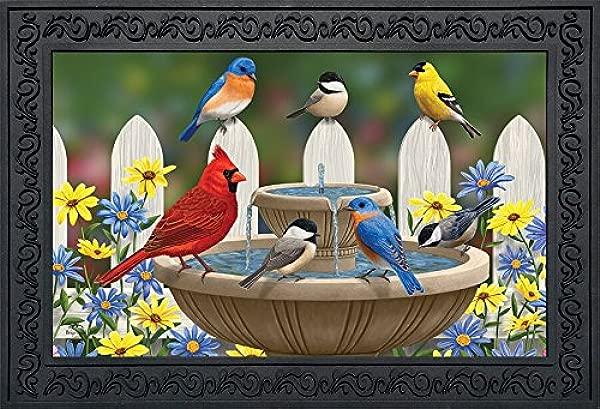 Briarwood Lane Birdbath Gathering Spring Doormat Floral Indoor Outdoor 18 X 30