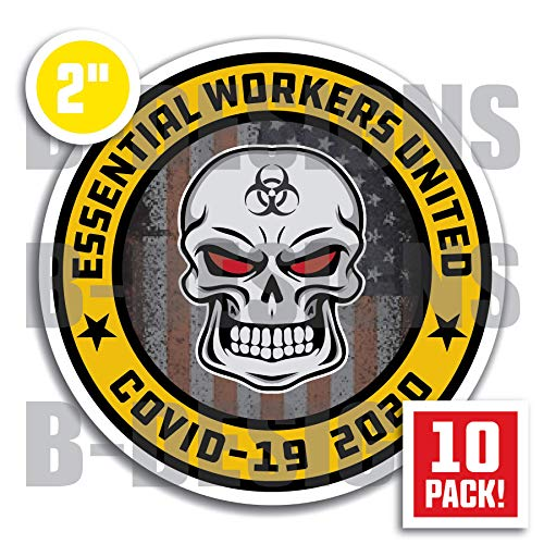 Essential Worker Hard Hat Stickers by Becta Design - Limited Edition Patriotic Sticker Design for American Workers - Pack of 10 Helmet Decals for Entire Work Team or Crew