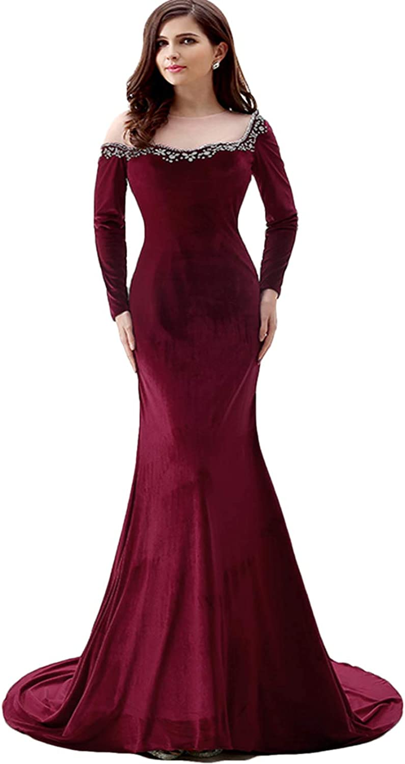 WZW 2019 Mermaid Long Sleeves Evening Gown Velvet Crystals Long Prom Party Dress