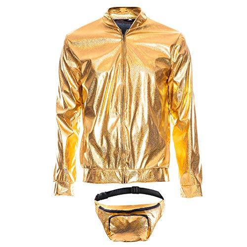 sowest 70er Jahre 80er Jahre 90er Jahre Folie Metallic glänzend Rave Bomberjacke Hologramm Festival Kostüm Gold