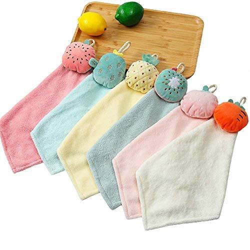 TANGTANG Coral-Fleece-Handtuch für Kinder, Cartoon-Design, Mikrofaser, Geschirrtuch, Küche, Badezimmer, Mehrzweck-Handtuch, 6 Stück